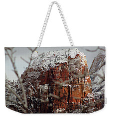 Angels Landing Under Snow Weekender Tote Bag