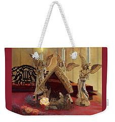 Weekender Tote Bag featuring the painting Angels Watching Over by Nancy Lee Moran