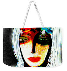 Weekender Tote Bag featuring the mixed media Angie by Ann Calvo