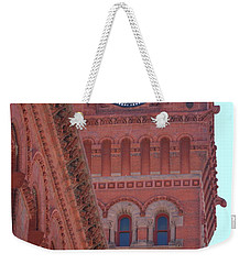 Angled View Of Clocktower At Dearborn Station Chicago Weekender Tote Bag
