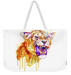 Weekender Tote Bag featuring the mixed media Angry Lioness by Marian Voicu