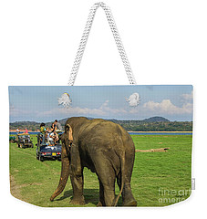 Weekender Tote Bag featuring the photograph Angry Male Elephant Near Safari Jeeps by Patricia Hofmeester