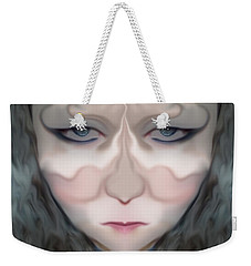 Weekender Tote Bag featuring the photograph Angry Monster Child #1 by Barbara Tristan
