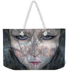 Weekender Tote Bag featuring the photograph Angry Monster Child #2 by Barbara Tristan