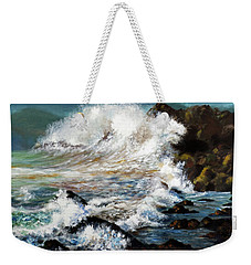 Weekender Tote Bag featuring the painting Angry Sea by Walter Fahmy