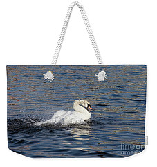 Angry Swan On The Water Weekender Tote Bag by Michal Boubin