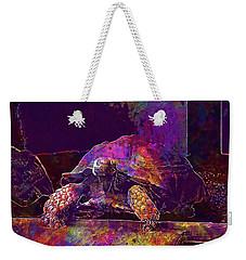Weekender Tote Bag featuring the digital art Animal Turtle Zoo  by PixBreak Art