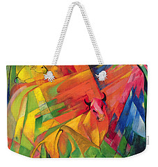 Animals In A Landscape Weekender Tote Bag by Franz Marc