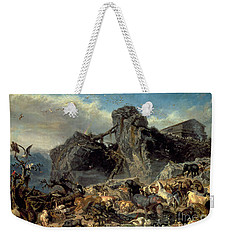 Animals Leaving The Ark, Mount Ararat  Weekender Tote Bag by Filippo Palizzi