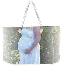 Annah In White Dress And Hat Weekender Tote Bag