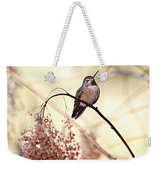 Anna's Hummingbird Closeup Weekender Tote Bag by Peggy Collins