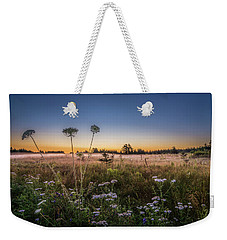Weekender Tote Bag featuring the photograph Anne's Lace On Misty Cavendish Meadows by Chris Bordeleau