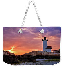 Annisquam Lighthouse Sunset Gloucester Ma Weekender Tote Bag
