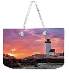 Annisquam Lighthouse,sunset Weekender Tote Bag