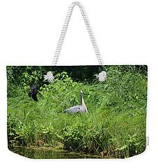 Annoyed - Heron And Red Winged Blackbird 1 Of 10 Weekender Tote Bag