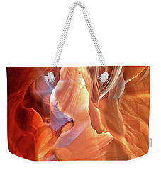 Weekender Tote Bag featuring the photograph Antelope Canyon Light by Lorella Schoales