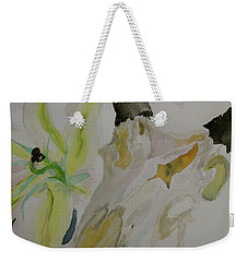 Weekender Tote Bag featuring the painting Antelope Skull Pinecones And Lily by Beverley Harper Tinsley