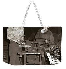 Anthracite Coal Artist  Charles Edgar Patience On Right  1906-1972 In Studio 1953    Weekender Tote Bag