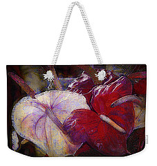 Weekender Tote Bag featuring the photograph Anthuriums For My Valentine by Lori Seaman