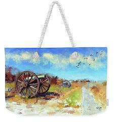 Weekender Tote Bag featuring the digital art Antietam Under Blue Skies  by Lois Bryan