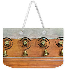 Weekender Tote Bag featuring the photograph Antique Butler Bells by Gary Slawsky