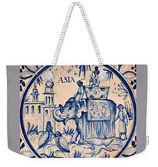 Continental Romantic Blue And White Ceramic Tile Depicting An Asian Elephant With Mahouts And Birds Weekender Tote Bag