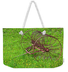 Weekender Tote Bag featuring the photograph Antique Hay Rake by Alan L Graham