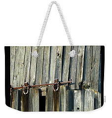 Weekender Tote Bag featuring the photograph Antique Hinges by Tina M Wenger
