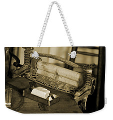 Antique Laundry Ringer And Handmade Lye Soap In Sepia Weekender Tote Bag