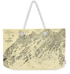 Antique Maps - Old Cartographic Maps - Antique Map Of Casco Bay, Maine, 1870 Weekender Tote Bag