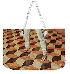 Weekender Tote Bag featuring the photograph Antique Optical Illusion Floor Tiles by Patricia Hofmeester