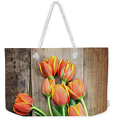 Weekender Tote Bag featuring the photograph Antique Scissors And Bouguet Of Tulips by Stephanie Frey