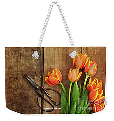 Weekender Tote Bag featuring the photograph Antique Scissors And Tulips by Stephanie Frey