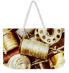 Weekender Tote Bag featuring the photograph Antique Sewing Artwork by Jorgo Photography - Wall Art Gallery
