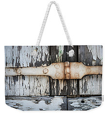 Weekender Tote Bag featuring the photograph Antique Shutter Detail by Elena Elisseeva