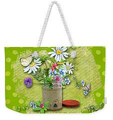 Antique Tin Of Flowers Weekender Tote Bag by Larry Bishop