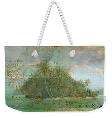 Weekender Tote Bag featuring the photograph Antique Vintage Map Of North America Tropical Ocean by Debra and Dave Vanderlaan
