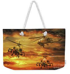 Weekender Tote Bag featuring the digital art Apache Attack by Randy Steele