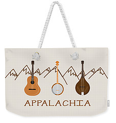 Weekender Tote Bag featuring the digital art Appalachia Mountain Music by Heather Applegate