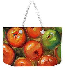 Weekender Tote Bag featuring the painting Apple Barrel Still Life by Nancy Merkle