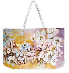 Weekender Tote Bag featuring the painting Apple Blooms by Donna Dixon