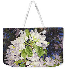 Apple Blossoms At Dusk Weekender Tote Bag by Anne Gifford