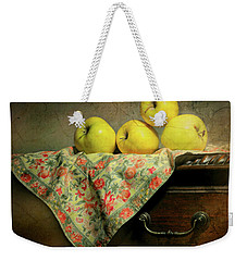Weekender Tote Bag featuring the photograph Apple Cloth by Diana Angstadt