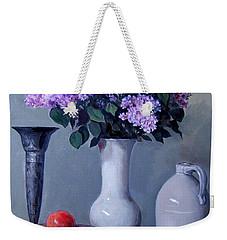 Apples And Lilacs, Silver Vase, Vintage Stoneware Jug Weekender Tote Bag