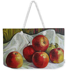 Weekender Tote Bag featuring the painting Apples by Elena Oleniuc