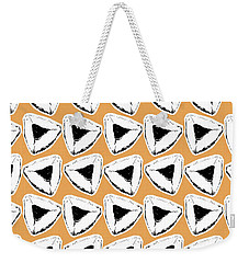 Weekender Tote Bag featuring the mixed media Apricot Hamentashen- Art By Linda Woods by Linda Woods