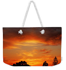 Weekender Tote Bag featuring the photograph Apricot Sunset by Mark Blauhoefer