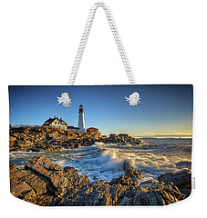 Weekender Tote Bag featuring the photograph April Morning At Portland Head by Rick Berk