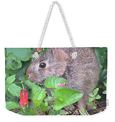 April Rabbit And Columbine Weekender Tote Bag by Peg Toliver