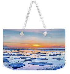 April Sunset Over Lake Superior Weekender Tote Bag